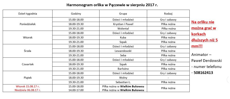 Harmonogram korzystania zOrlika wmiesiącu sierpniu.